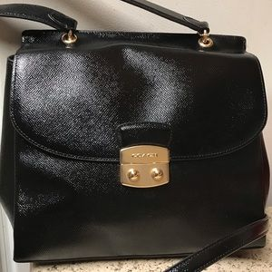 Coach top-handle purse (glossy black)